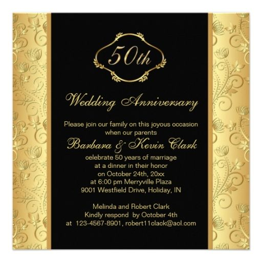 645 best 50th anniversary party invitations images on pinterest floral golden black 50th wedding anniversary card stopboris Image collections