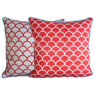 The softest outdoor cushion cover ever! #Red #Fishscale Outdoor reversible…