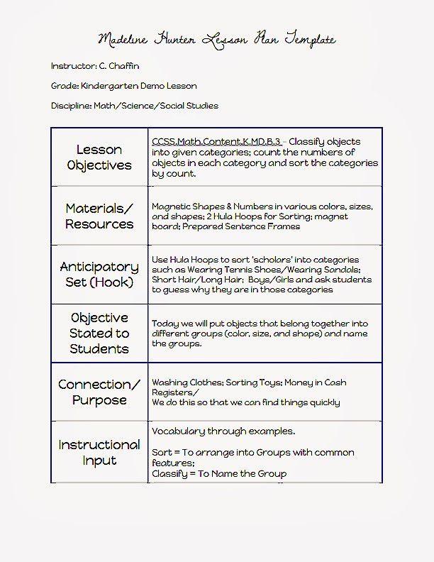 Madeline Hunter Lesson Plan Example Lovely Mon Core Blogger Madeline Hunter Lesson Plan Lesson Plan Examples Lesson Plan Templates Madeline Hunter Lesson Plan