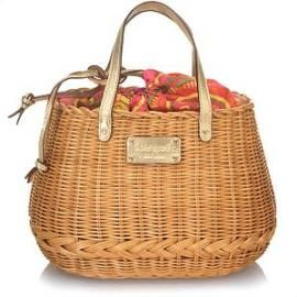 Kate Spade Cozumel Oval Basket Handbag A perfectly summery bag, this basket tote is woven of natural wicker and finished with metallic goathide trim, drawstring closure, gold plated hardware, signature logo plate, plus faille lining with interior zip and open pockets. Dimensions: 11″L x 8″W x 7 1/2″H. 5″ handle drop