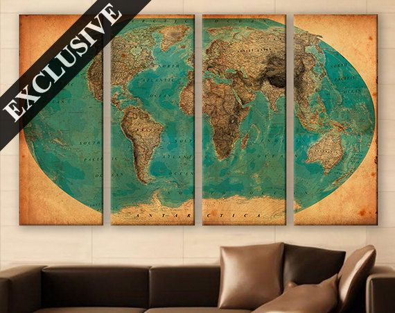 170 best world country maps images on pinterest country maps large wall decor canvas set large wall art world map canvas world gumiabroncs Image collections