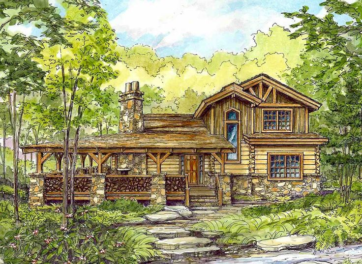 <ul><li>This log cabin home plan has back-to-back stone fireplaces to warm you both inside and out.</li><li>All the main rooms have wonderful views of the porch and beyond. The open floor plan layout ensures wonderful inside views too.</li><li>Located on the main floor, the master suite has a large walk-in closet and a spacious private bathroom.</li><li>Each bedroom on the upper level has its own bathroom as well plus walk-in clos...