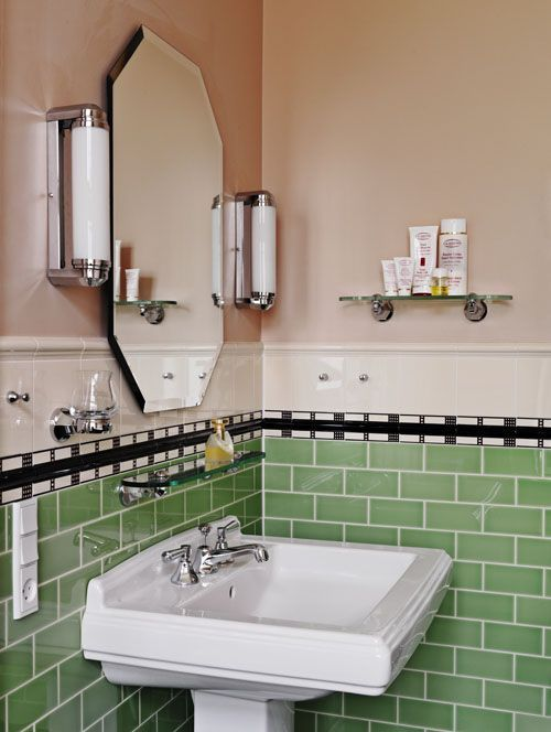 green & pink 30s style bathroom-in the style of the era for my house. Can't go there. Must go further retro.