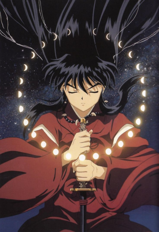 Inuyasha in human form holding his sword Tetsusaiga - InuYasha Official Artwork