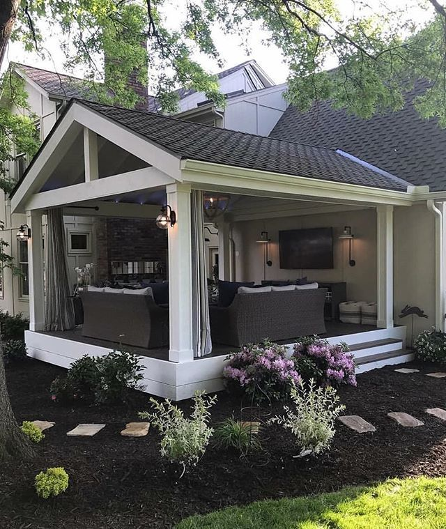 Swipe And Enjoy This Wonderful Covered Patio By Style And Grace Interiors House Exterior Backyard Patio Backyard