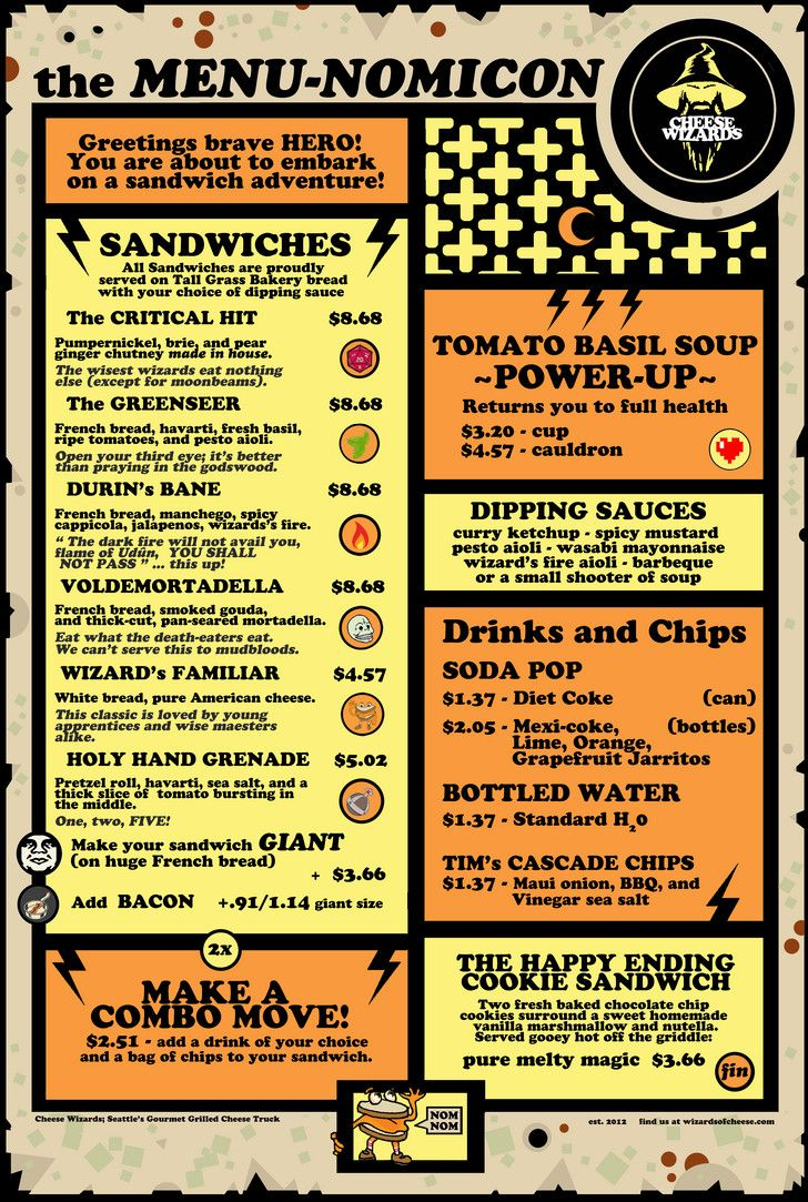Menu from the Cheese Wizards food truck in Seattle.  Mmm, mmm, geeky.