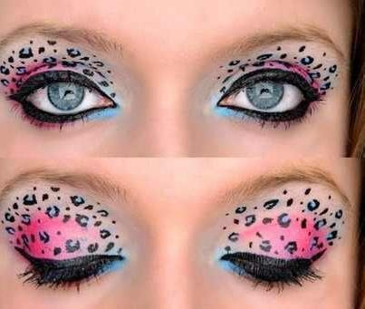 Pink and blue leopard print eye makeupPrints Eye, Eye Makeup, Eyeshadows Looks, Halloween Makeup, Beautiful, Cheetahs Eye, Leopards Prints, Animal Prints, Cheetahs Prints