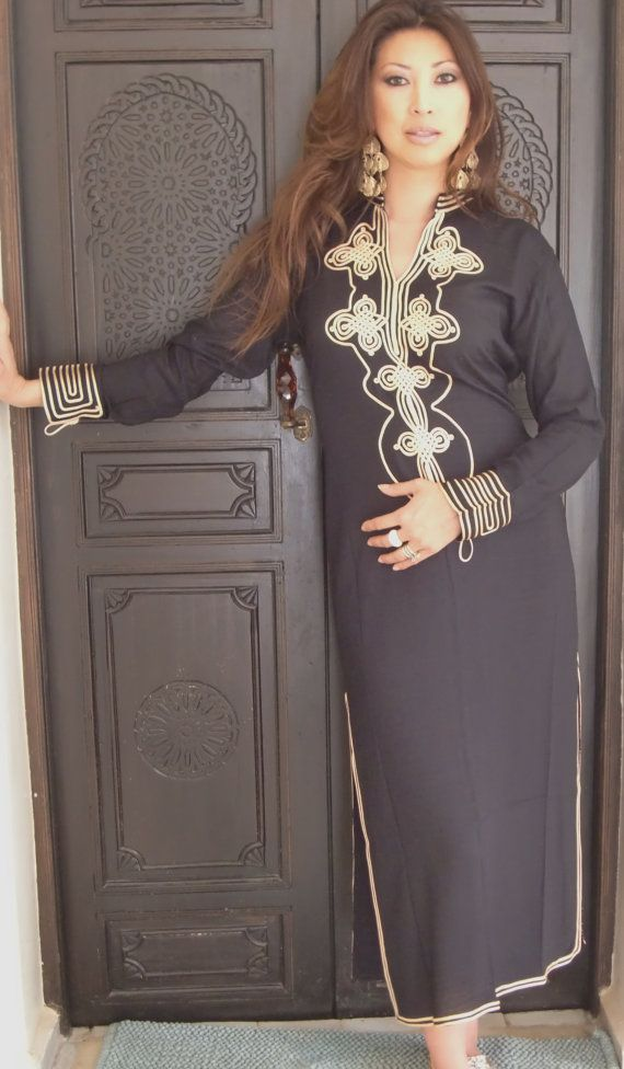 Black  Moroccan Caftan Dress Long  Aisha Style by MaisonMarrakech, $69.99