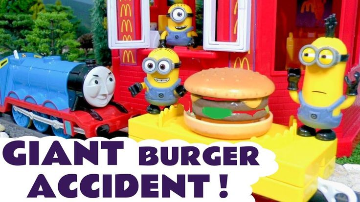 Thomas & Friends Minions McDonalds Drive Thru GIANT Burger Accident  - F...