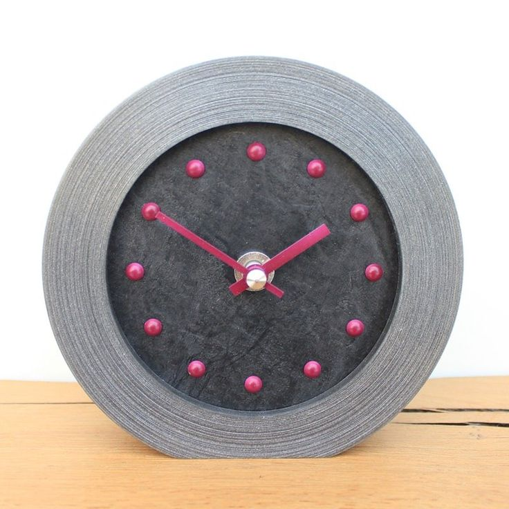 Slate Effect Mantel Clock with Purple Studs and Hands
