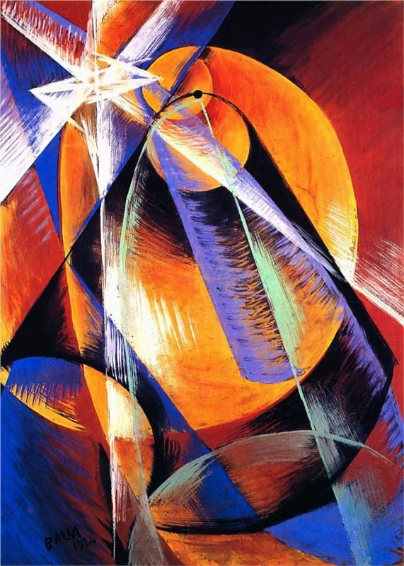Giacomo Balla - Planet Mercury passing in front of the Sun (1914) amazing colors