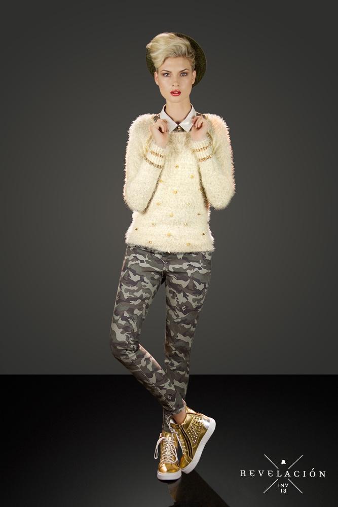 ☓ Revelación ☓ Invierno 13    Camisa de crepe SHBELL11  Sweater piel de mono con tachas SWBELL31  Jean camuflado reversible PTBELL24  Sneakers con tachas ZBELL33