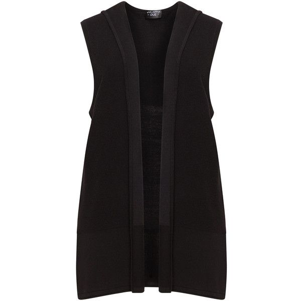 Via Appia Due Black Plus Size Fine knit hooded waistcoat ($84) ❤ liked on Polyvore featuring outerwear, vests, black, plus size, womens plus size vests, layered vest, sleeveless waistcoat, plus size vest and cotton vest