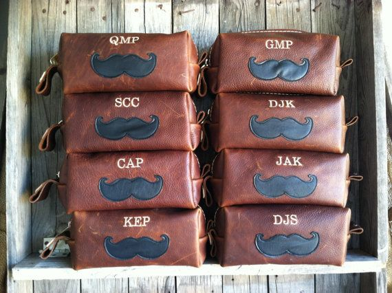 these are awesome! this store has great hand made gifts for everyone, talk about 1 stop shopping!   HANDMADE Men's Leather MUSTACHE Toiletry Case Dopp Kit Shaving Bag Groomsmen Present Groomsman Gift Wedding Groom Lifeless Leather Co Cognac