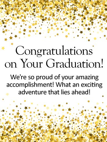 A Sea Of Stars Frame The Inspirational Words In This Graduation Card Letting Someone Special