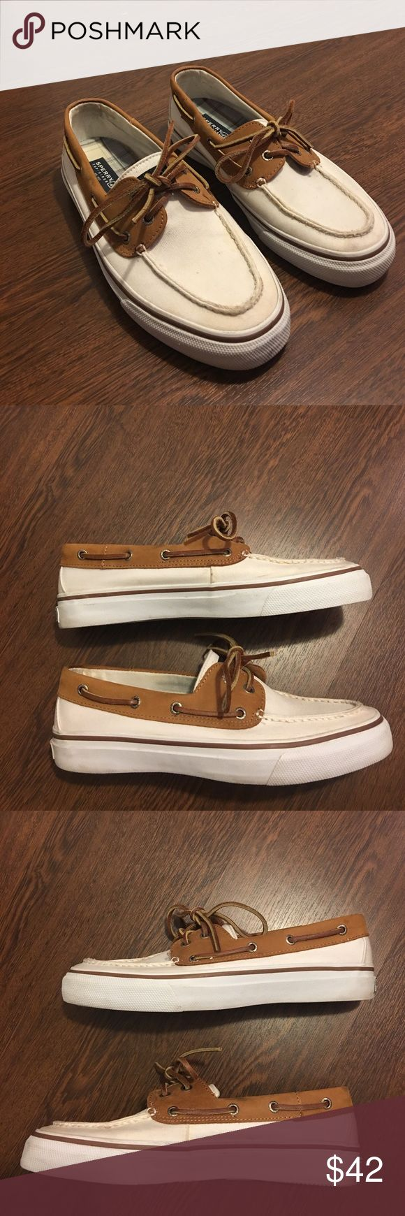 SALE Sperry Top-Sider Boat Shoes 9 1/2 Sperry Top-Sider Boat Shoes. Men's size 9 1/2. White and Brown. Lightly worn. In great shape Sperry Top-Sider Shoes Boat Shoes