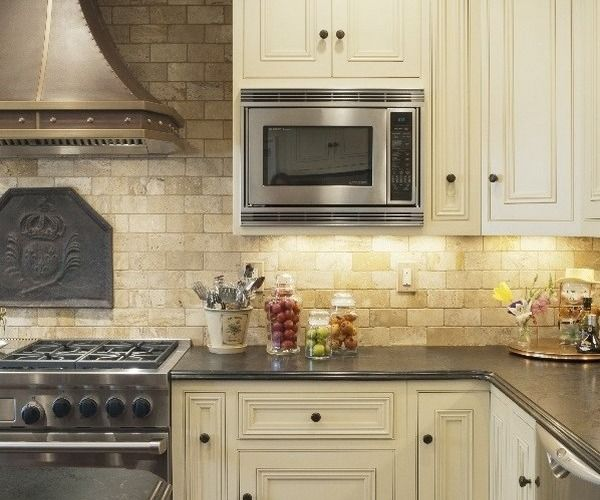 Mediterranean Kitchen Design Travertine Backsplash White