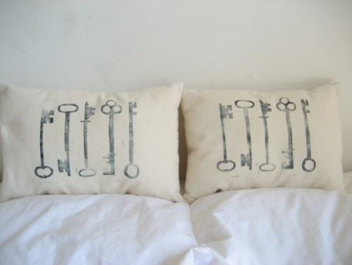 Skeleton Key Pillows by Sugar and Fig	 - $30.00
