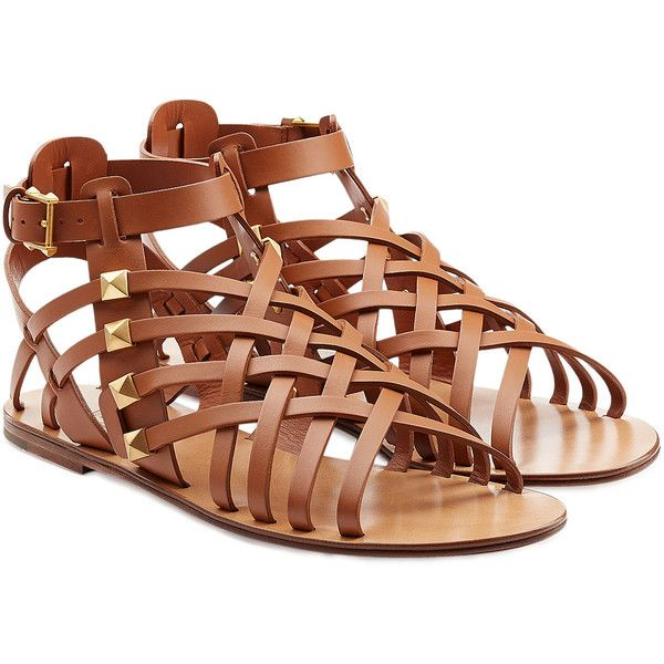 Valentino Rockstud Gladiator Sandals featuring polyvore, fashion, shoes, sandals, camel, camel shoes, flat gladiator sandals, flat shoes, greek sandals and valentino sandals