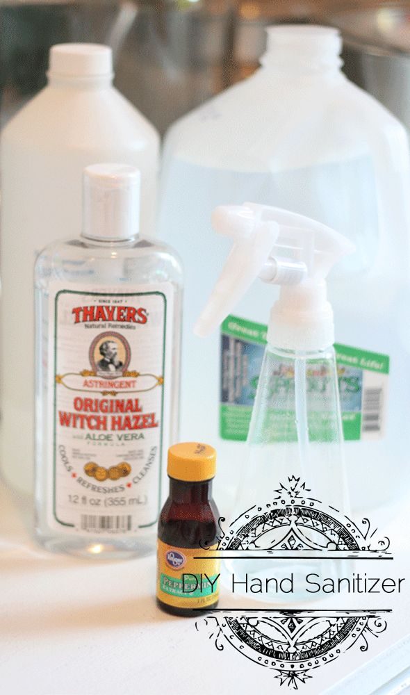 DIY Hand Sanitizer: 90% Witch Hazel, 5% Rubbing Alcohol, 5% Distilled Water, and a capful of Peppermint Extract.  Peppermint Oil didn't smell as nice as Peppermint extract. You will only need about 5 drops of essential oil. These measurements aren't precise... We experimented with Lemon Oil as well.  Just use what smells good to you.