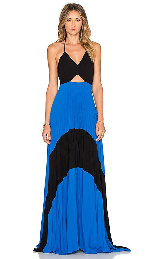 Shop for Karina Grimaldi Fabi Pleated Maxi Dress in Blue Black at REVOLVE. Free 2-3 day shipping and returns, 30 day price match guarantee.