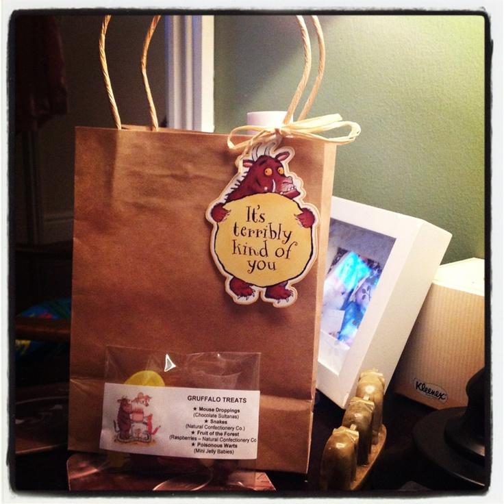 First Birthday Boy Party Loot Bag Single: Handmade Gruffalo Loot Bag And Lolly Bag Loot!