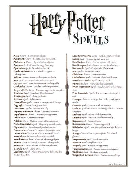 harry potter list of spells: