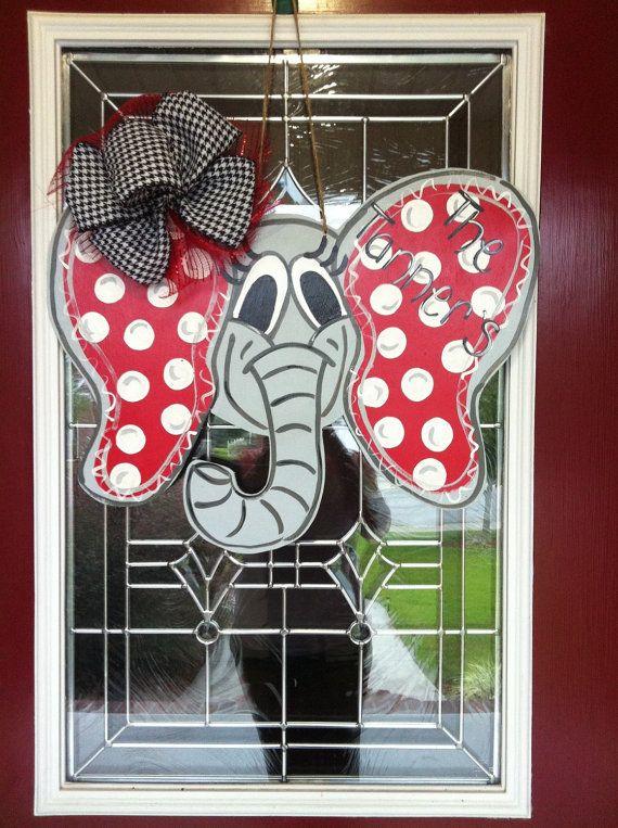 Big Al Alabama Elephant Wooden Door Hanger by PinkWhimsyCollection