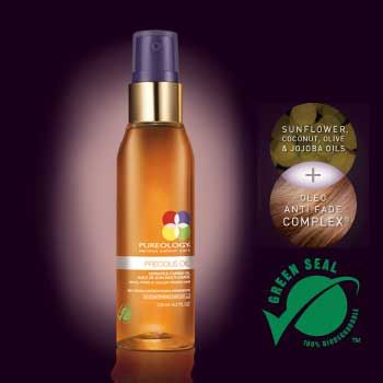 Precious Oil - by Pureology;  THIS STUFF IS AMAZING!  You can try it in small size for about $9.  I've used it on my hair, elbows, even my neck! And the smell is heavenly.