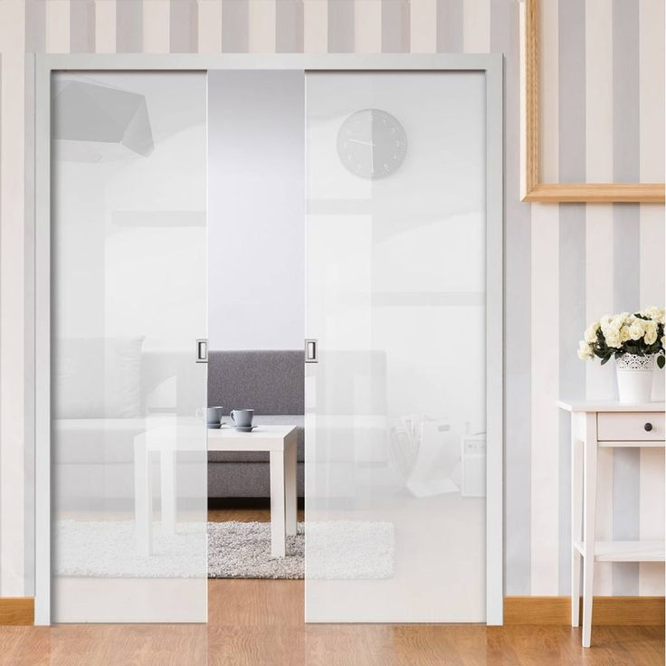Eclisse 10mm Satin White Tinted Glass Double Pocket Door - 8105.    #glasspocketdoors  #doubleglassdoors  #glassdoors