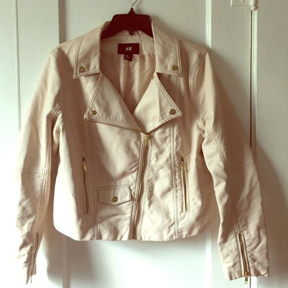 I just discovered this while shopping on Poshmark: FLASH SALE Cream Leather Jacket. Check it out! Price: $20 Size: 10, listed by danactate