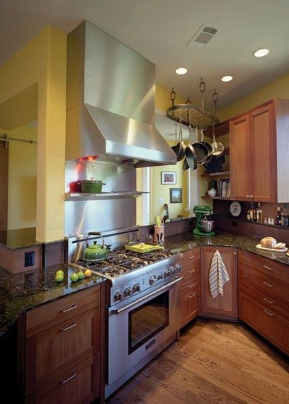 stainless steel backsplash stainless steel ceiling pot rack - Transitional Kitchens - Kitchens.com