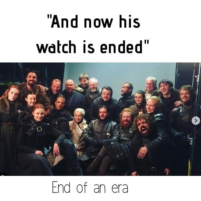 "Image may contain: 19 people, text that says '""And now his watch is ended"" End of an era'"
