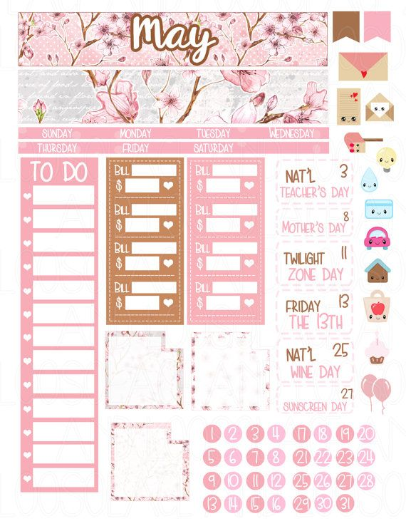 Printable Planner Stickers May Monthly Kit Erin by LaceAndLogos