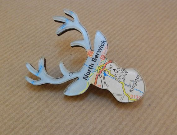 North Berwick, Edinburgh - Perspex Jewellery Jewelry - Highland Stag Brooch - Animal Jewellery - Map Jewellery - Travel Gift - Ladies Gift