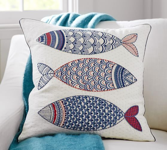 3 Fish Embroidered Pillow Cover | Pottery Barn