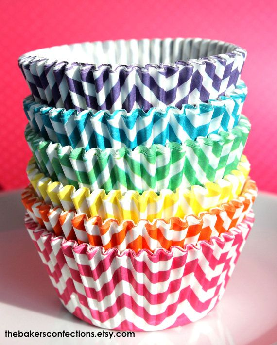 Girls Rainbow Chevron Cupcake Liners - ZigZag Baking Cups, Designer Grease Resistant Liners (120 count - 20 each color)