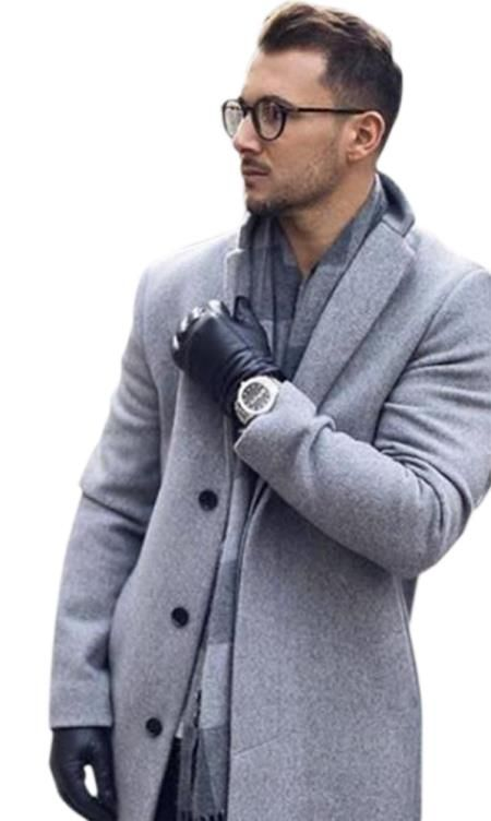 Alberto Nardoni Mens Light Grey ~ Silver Gray Mens 65% Wool overcoat ... 22e4688764f5
