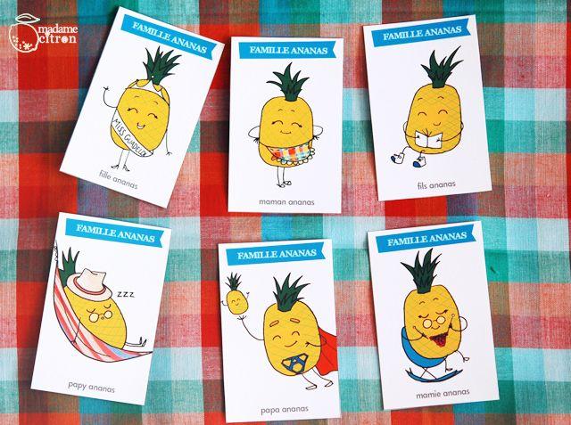 DIY : Tronches de fruits, le jeu de sept familles imprimable (LES ANANAS)