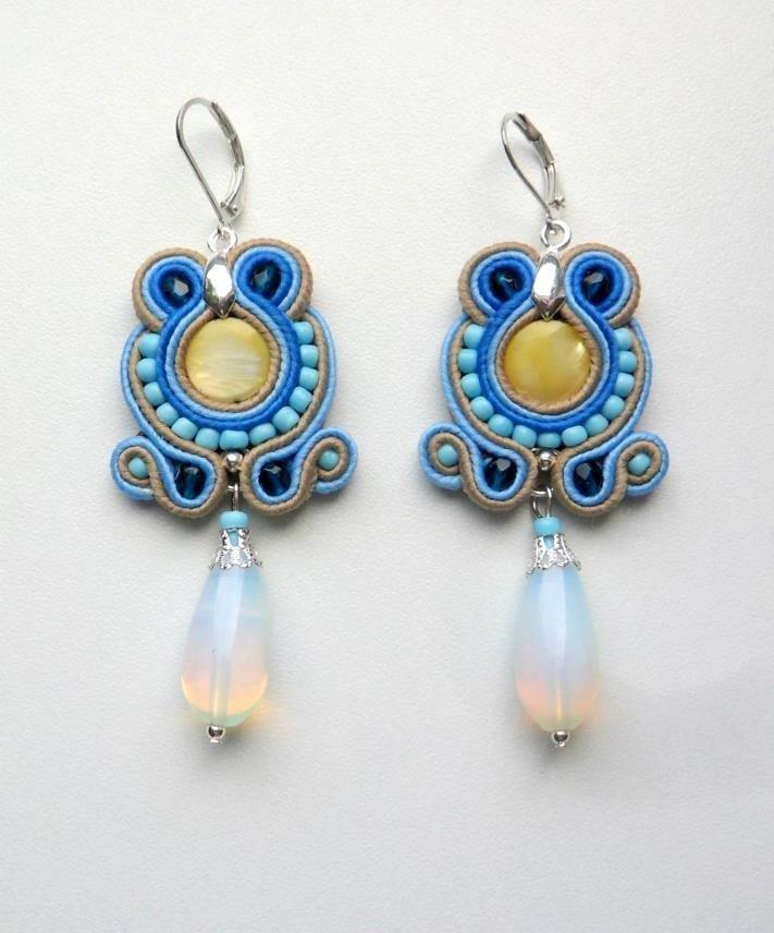 Soutache earrings Blue water Opal yelloow shells unique soutache jewelry summer earrings blue