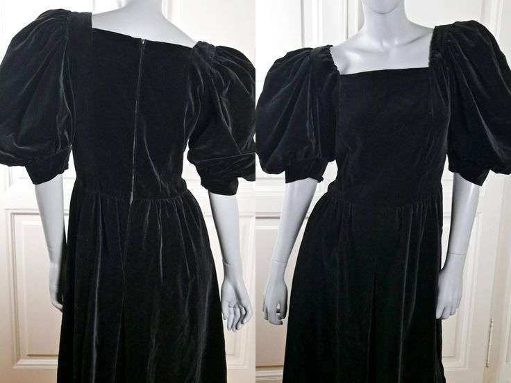 Black Velvet Dress, European Vintage Soft Black Velvet Elegant Midi Cocktail Dress w Short Puffed Sleeves: Size 8 US, Size 12 UK by YouLookAmazing on Etsy