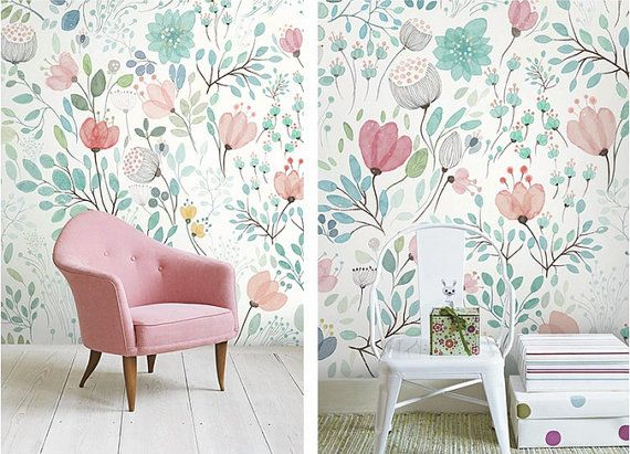 """55"""" x 35"""" 4 Colors -- Watercolor Blossoms Wallpaper Fresh Spring Flower & Leaves Wall Decal Art Bedroom Pink Blue Green White Large Print"""