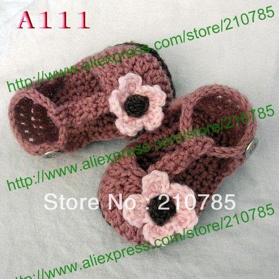 Вязаные Детские Сандалии, девочка Вязание розовые цветы обувь, Младенца вязания крючком сапожок 80 пара/лот Бесплатная Доставка