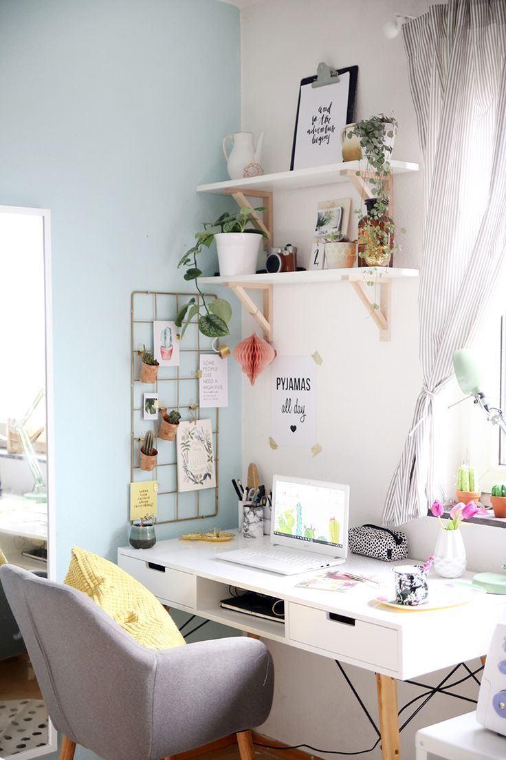 Home Office in a gray and white