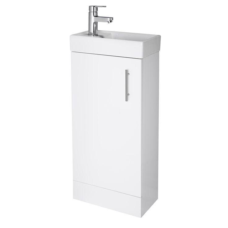 400mm White Minimalist Compact Cloakroom Vanity Unit - Image 1