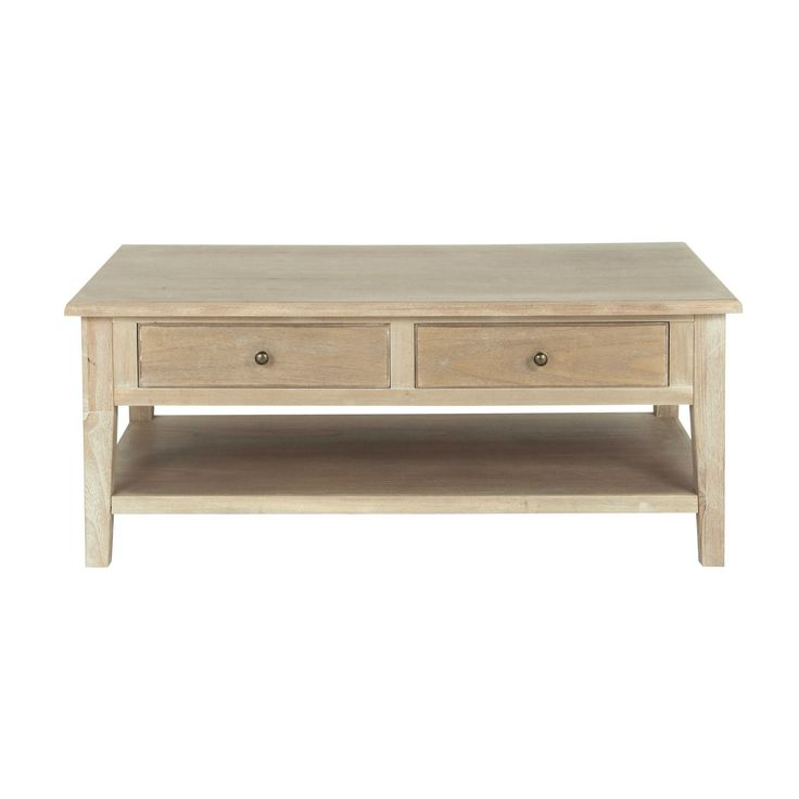Mesa baja de madera de paulonia gris An. 110 cm - Cavaillon Cavaillon