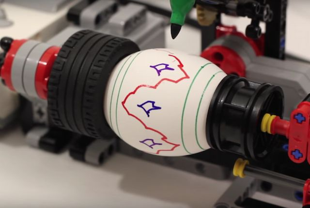 """WHAT DO YOU DO WHEN YOU HAVE EGGS TO DECORATE? As one LEGO enthusiast discovered, you can use your """"... LEGO Mindstorms EV3 robotics kit..."""" Well then, science & art have united!"""