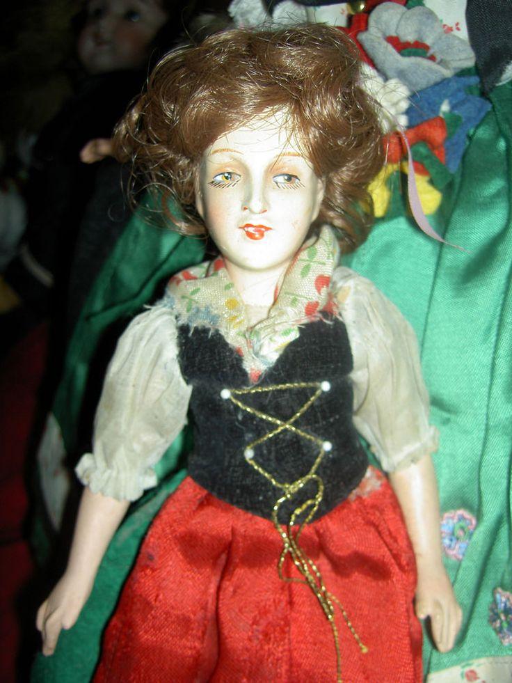 Lovely signed, antique composition & cloth Rudolf Leschhorn small boudoir doll