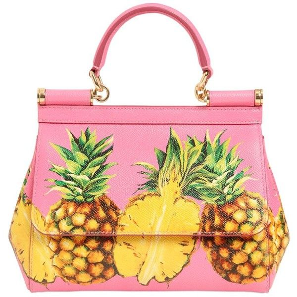 Dolce & Gabbana Women Small Sicily Pineapples Leather Bag ($2,420) ❤ liked on Polyvore featuring bags, handbags, shoulder bags, embossed handbags, pink purse, dolce gabbana shoulder bag, leather shoulder bag and genuine leather purse