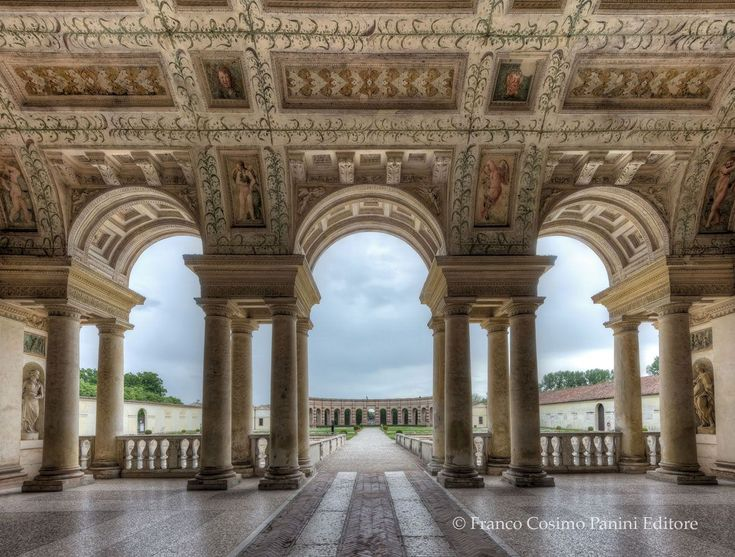 069-ARCHITECTURE, Giulio Romano; Loggia of Palazzo Tê, Mantua, 1525-1535. # Giulio Romano Palazzo del Te, is characterized by extreme sophistication, complexity, and novelty, based on ancient Roman architecture but with less emphasis in harmony, clarity of the design.# #ancientarchitecture